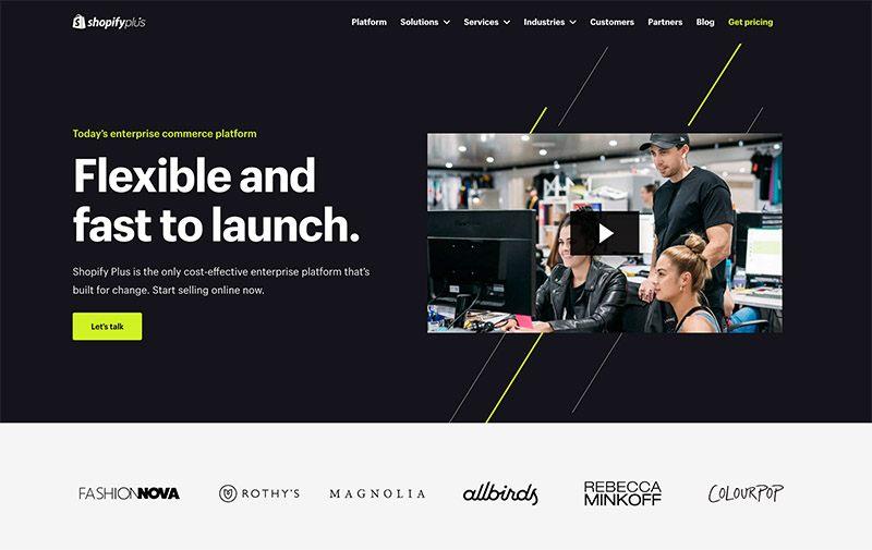 shopify plus homepage